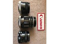 Canon (FAST PRO PRIMES) Old Manual Lenses : 24mm F2.0 [FD] / 28mm f2.0 [FD] / 100mm f2.0 [R]