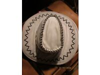 WHITE COWGIRL HAT WITH STITCHING TRIM NEW PARTY OR HEN DO HAVE MORE HATS FOR SALE