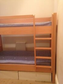 Good quality solid wooden bunk bed with storage drawers and mattress - hardly used