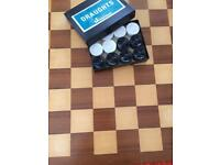 Wooden Chess or Draughts Board with Draughts
