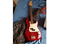 Squier by Fender P-bass - Red (With Fender Amp, 2 Leads, Case, Tuner & Effects Pedal!)