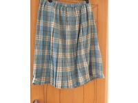 Brand New Damart Ladies Pleated Skirt - Pale Blue check - Size 30