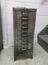 Small vintage steel filing cabinet - Olive green