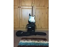 Fender Squier 3/4 guitar laney amp and case
