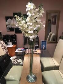 Crystal glass vase with Large flowers -MINT condition