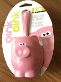 Novelty Child's Piggy Egg Cup & Spoon (brand new/ sealed)