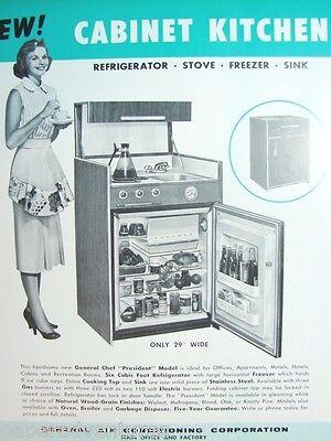 1958 GENERAL CHEF Compact KITCHENS Fridge Oven Range Formica Vintage Catalog