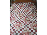 KING OR DOUBLE AUTUMN COLOUR QUILTED BED SPREAD COVER THROW BROWNS PINKS WHITE FLORAL