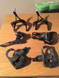 road bike parts keo pedals shimano mechs brake calipers
