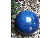 Blue pottery garden ornament