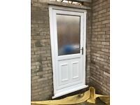 UPVC External Door. Double Glazed. White. 91cm x 197cm excl sill.