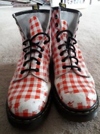 Red White Check Doc Martens Boots size 7