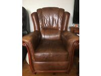 Tan leather 3+1+1 suite of furniture £250