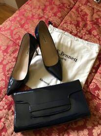 FOR SALE - LK Bennett Shoes & Clutch bag (Navy)