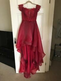 A-Line/Princess Sleeveless Off-the-Shoulder Applique Organza Dresses