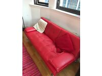 Red leather sofa bed couch