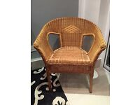 WICKER CHAIR FOR CONSERVATORY,PORCH OR BEDROOM. Excellent condition.