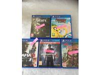 PS4 games - fallout 4, Mafia III, Uncharterd 4, Dead Island and Adventure time.