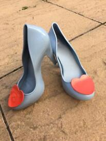 Mel by Melissa heart shoes jelly heels size 6