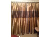 Gold slub silk finish polyester lined patio window curtains