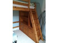 Flex Pine elevated bed with matching wardrobe, drawer units and under bed storage