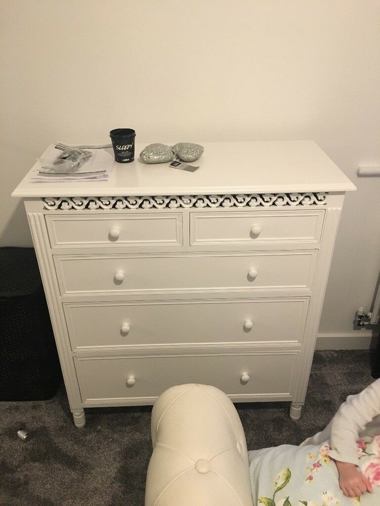 Belgravia White  Drawer Chest Of Drawers Shabby Chic New Condition