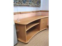 Oak veneer bookcase with drawers