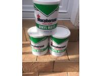 Four 5lt tubs of macphersons trade magnolia Matt paint