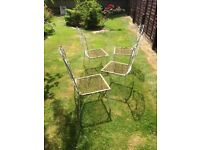 4 upright armless hand-crafted iron chairs - 50 years old - challenging restoration job!
