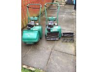 2 Qaulcast 35s Mowers for sale , 1 running and other for spares has scarafing reels.