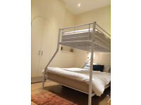 Beautiful White Metal Bunkbed Triple Sleeper with Matresses