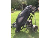 Powakaddy powered golf trolley with clubs and charger
