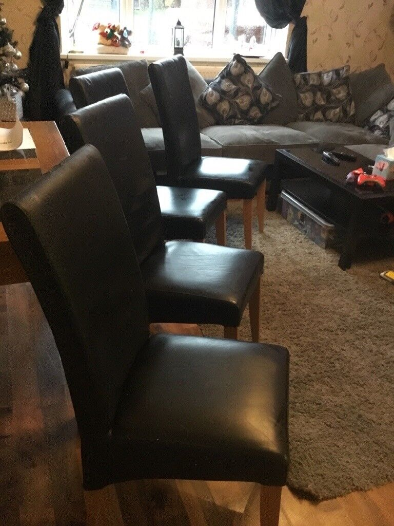 4 Black Dining Room Chairs Collection Wakefield