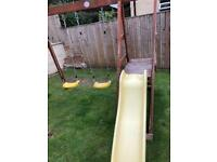 Plum Twin Double Swing and Slide Set