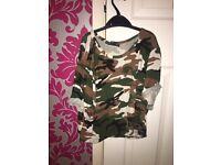 Boohoo petite camouflage t shirt