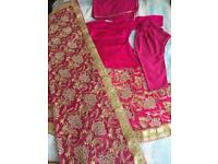 Ladies Handmade 5 Piece Pink/Gold asian Bridal Lengha Suit With Zardozi Embroidery
