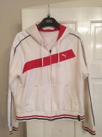 Puma white & red stripe ladies size 14 hoodie