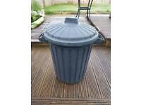 Large black heavy duty plastic dust bin