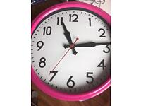Pink clock, desk tidy & bin