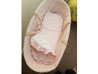 Baby Girl Pink Moses Basket/Crib with Mattress, Hood, Quilt and Stand - in Lovely Condition