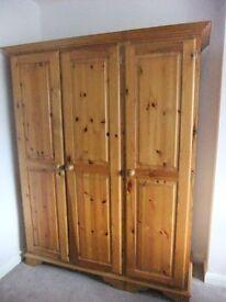 Three Door Solid Pine Wardrobe
