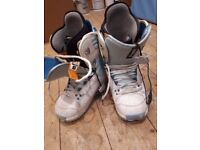 White and blue snowboarding boots. Hardly worn. Size 6