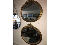 Lovely Pair of Large Ornate Gilt Carved Antique Oval Bevelled Edge Mirrors Decorative Gilt Frames