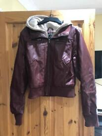 Fake leather jacket with hood