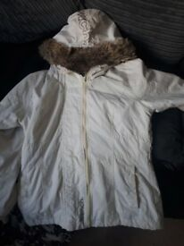Size 10 white bench coat with double zip up