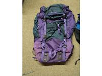 Large Land Trekka Survivor 100 Back pack, Ruck sack, Purple, good condition.