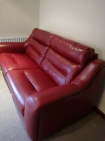 Red leather sofa and electric recliner