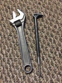 "Bahco 8070 6"" adjustable wrench plus britool 6"" heel bar snap on quality"