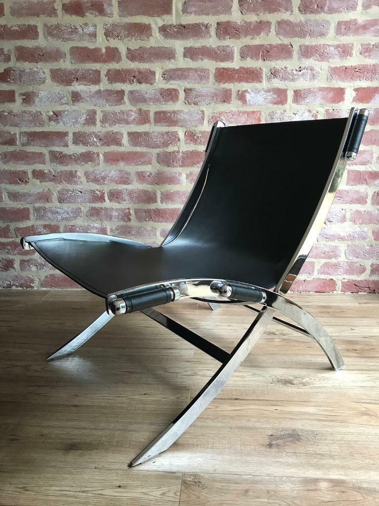 Danish Black Leather Chrome Sling Chair Made By Dan Form In Colchester Essex Gumtree