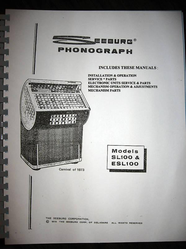 Seeburg Model SL00 & ESL100 7 PART Jukebox Manual